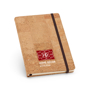 Cork pad with black elastic closure strap and ribbon with 2 colour print logo