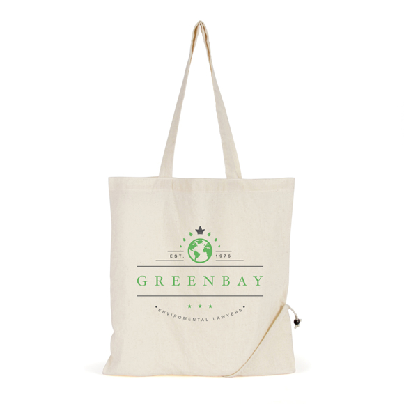 Cotton shopping bag with foldable pocket
