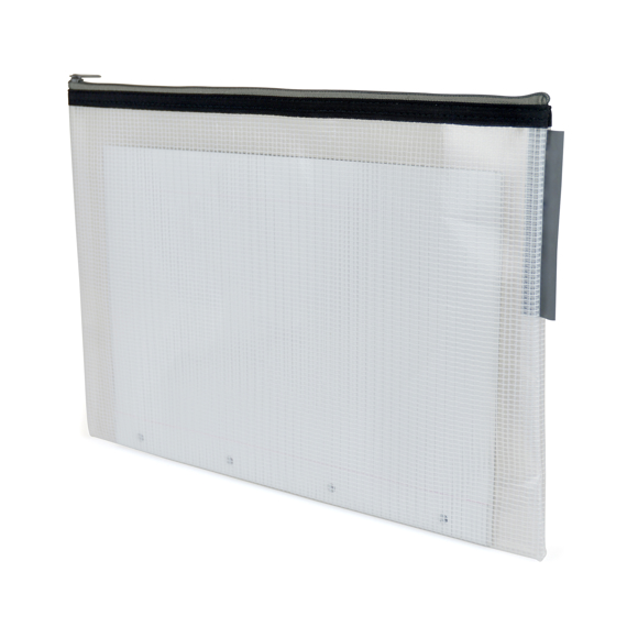 white cross hatch conference folder with black zip