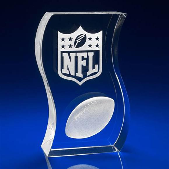 Crystal Sports Award, 150x100mm Curved Shape.