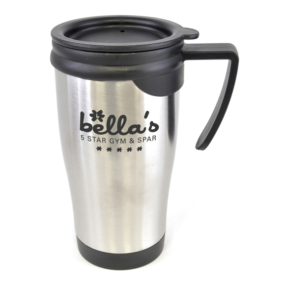 stainless steel dali travel mug with black handle lid and trim