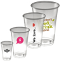 4 disposable plastic cups with logos