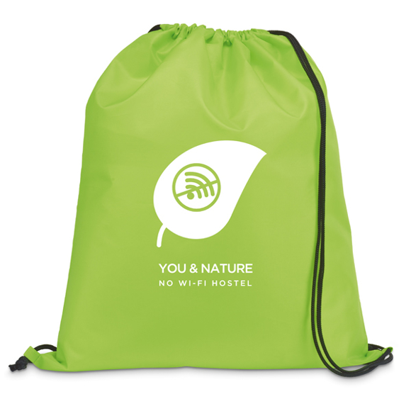 Draw string sports bag in light green with black strings and 1 colour print logo