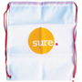 Drawstring Bag in white with red strings and 2 colour print logo