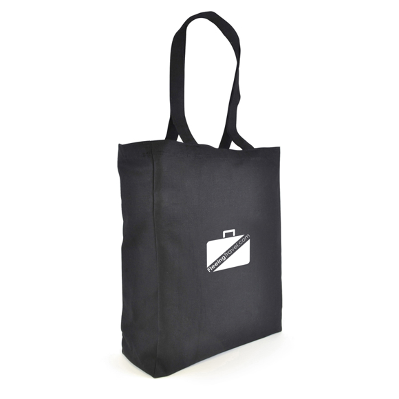 Large cotton shopper bag in black with long handles and logo printed on the front