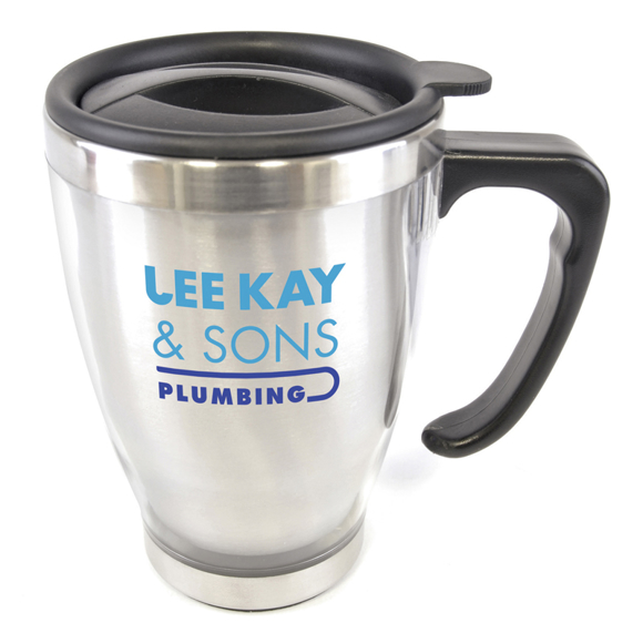 a mug sized stainless steel travel tumbler with black lid and handle