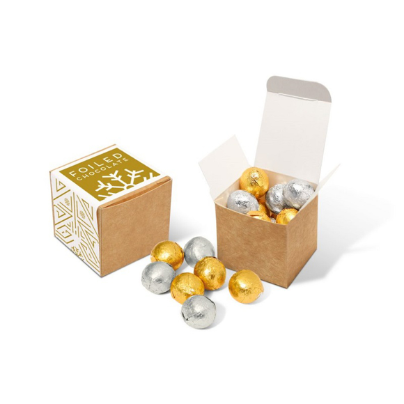 craft cube containing gold and silver foil covered beans