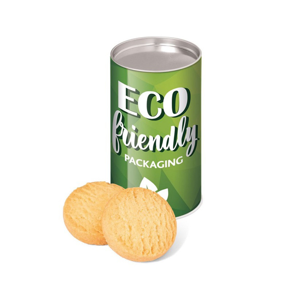 eco tube with shortbread biscuits displayed