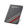 Imitation leather hardcover notebook in black with 4 grey elastic straps and 1 red elastic closure strap with 1 colour print logo