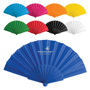 Fabric Tela Fan in light blue, pink, orange, yellow, green, red, black, white and dark blue with plastic handle