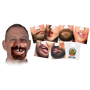 a selection of different face beer mats