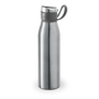 flip lid metal flask bottle with silicone strap - silver