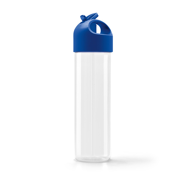 Clear Sports Bottle With Blue Cap And Handle To Lid