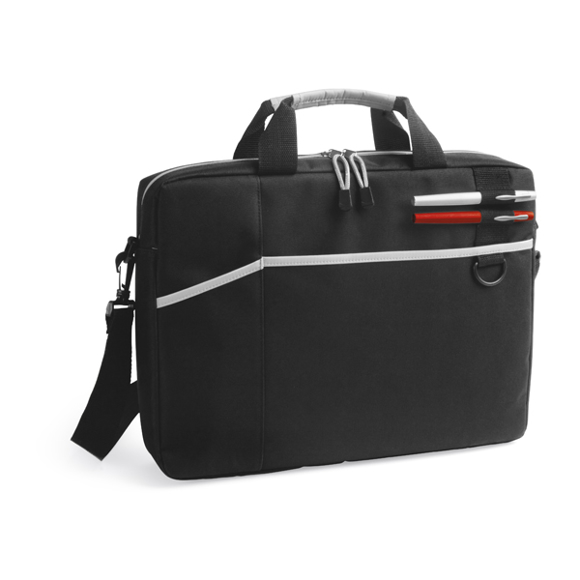 Black laptop bag with multiple compartments and white trim