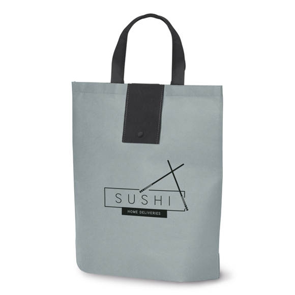 Grey bag with black short handles