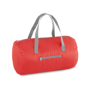 Foldable gym bag in red with grey straps and details