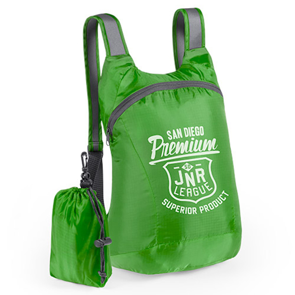 green foldable ledor backpack with small pouch with white print to the front