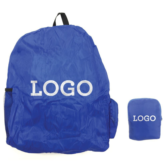 Foldable Rucksack in blue with colour match pouch and 1 colour logo