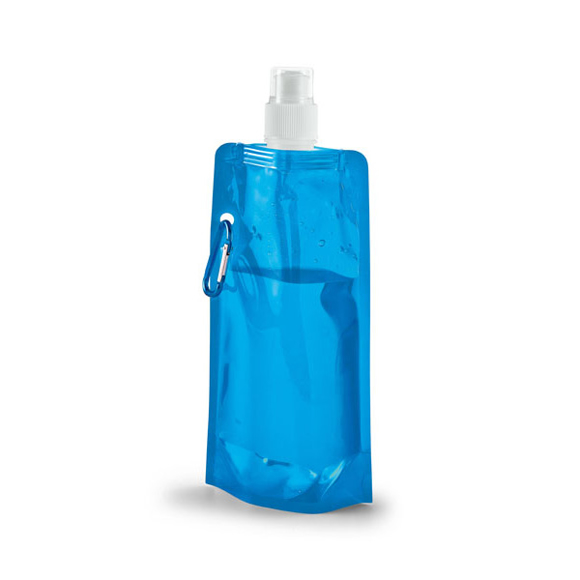 Folding Water Bottle With Side Carabiner Clip - Blue