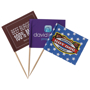 3 food pick flags with full colour designs
