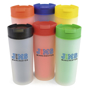 colourful frosted travel mugs with coordinated lids
