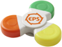 Fun tri twist highlighter in white with 1 colour print logo and with green, yellow and orange highlighters