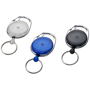three gerlos roller clip key chains in white blue and black
