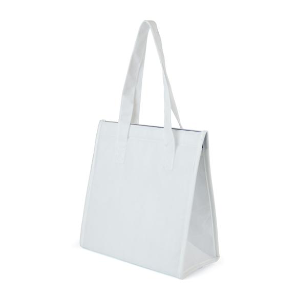 White shoulder bag style cooler bag