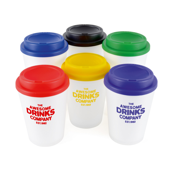 Promotional white reusable coffee cups with coloured lids