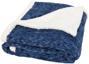 Heathered fleece plaid blanket in blue
