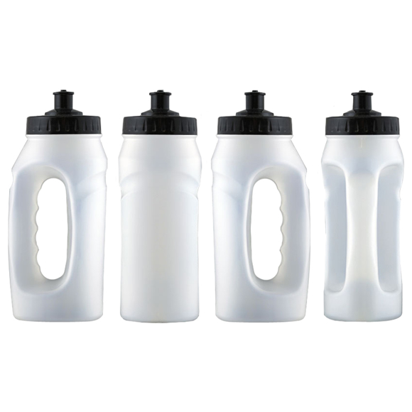 White jogger running bottle with hand grip and black sip lid