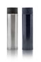 metal thermal bottle with embossed geometric pattern to lid