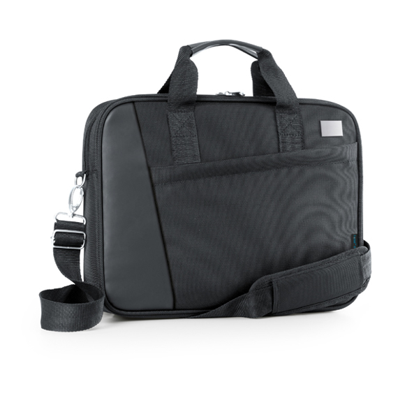 Black laptop case with carry handles and shoulder straps