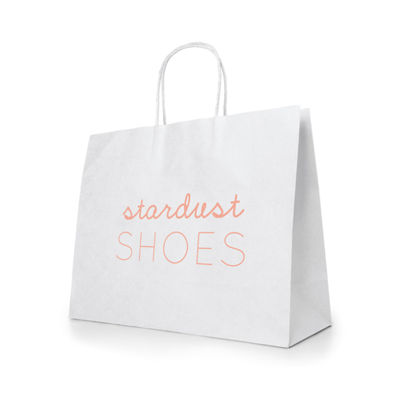 Large Kraft Recyclable paper shopping bag in white with 1 colour print logo