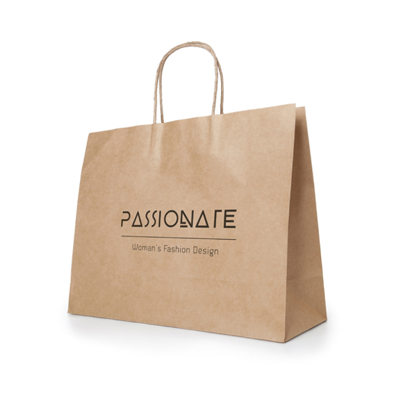 Large Sized Kraft Recyclable paper shopping bag in brown with 1 colour print logo
