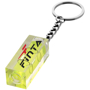 a small spirit level on a metal keychain with red and black branding to one side