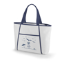 White cooler tote bag with blue trim and company logo printed on the front