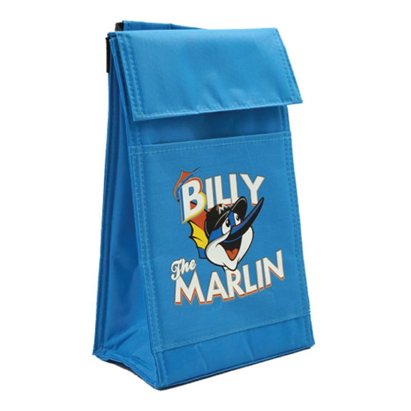 Tall blue cooler bag with top folding flap with logo printed on the front