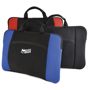 Black and blue laptop sleeve with handle