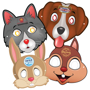 4 animal themed masks with elastic strap