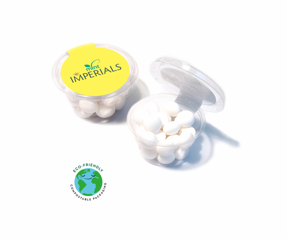 Medium sized clear compostable pot filled with mint imperials