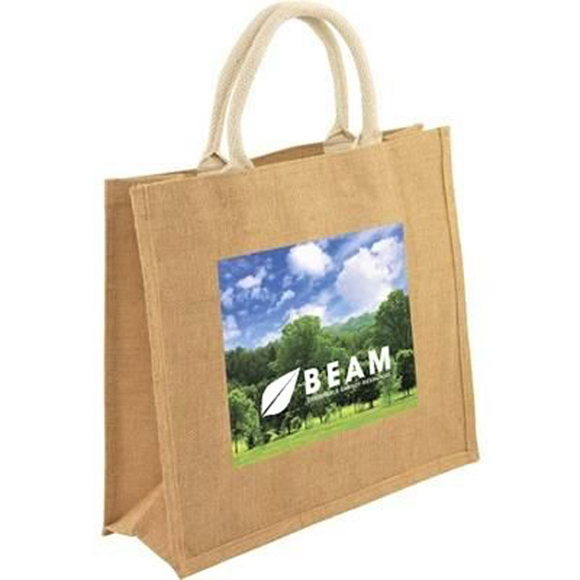 Large square jute bag with full colour print on the front