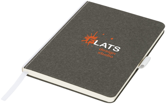 medium size cardboard notebook in charcoal with white fabric spine, ribbon and elastic pen loop with 2 colour print logo