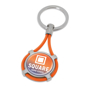 metal and elastic keyring with a domed digital sticker to the centre