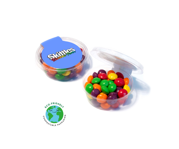 Medium compostable sweet pot filled with skittles