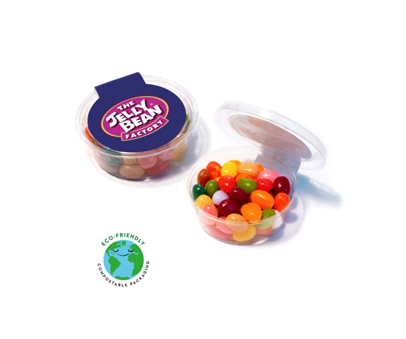 Medium sized sweet pot filled with multi coloured Jelly Beans
