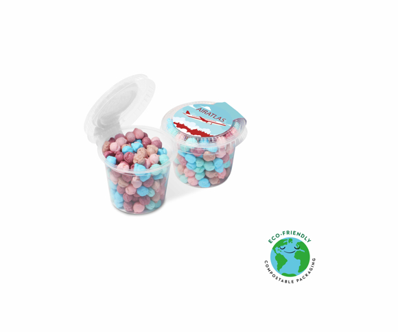 Small compostable sweet pot filled with millions chewy sweets