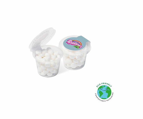 Mini clear sweet pot filled with small white raindow mints and sealed with a printed sticker