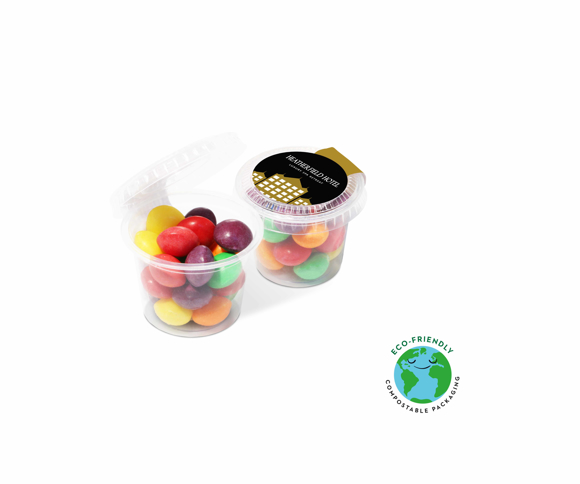 Mini compostable Sweet pot filled with skittles