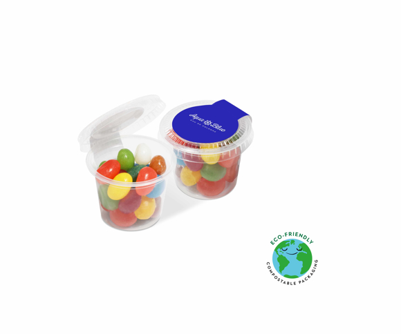 Miniature sweet pot filled with The Jelly Bean Factory Sweets